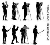 set cameraman with video camera.... | Shutterstock .eps vector #649569088