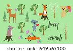 vector drawn funny animals with ... | Shutterstock .eps vector #649569100