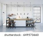3d rendering of modern kitchen...   Shutterstock . vector #649573660