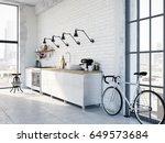 3d rendering of modern kitchen... | Shutterstock . vector #649573684