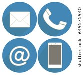 set icons communication on blue ... | Shutterstock .eps vector #649575940