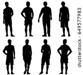 set black silhouette man... | Shutterstock . vector #649577983