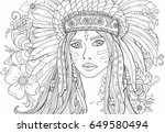 coloring pages for adults girl... | Shutterstock .eps vector #649580494