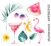 watercolor summer set. hand... | Shutterstock . vector #649581910