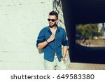 portrait of a handsome man ... | Shutterstock . vector #649583380