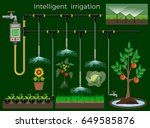 intelligent irrigation system.... | Shutterstock .eps vector #649585876