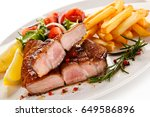 roast steak with french fries... | Shutterstock . vector #649586896