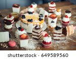 table with various cookies ... | Shutterstock . vector #649589560