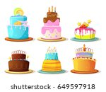 cartoon cream cakes set isolate ... | Shutterstock .eps vector #649597918
