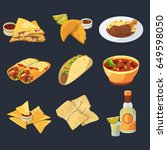different mexican foods in... | Shutterstock .eps vector #649598050