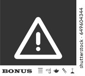 exclamation danger icon flat.... | Shutterstock .eps vector #649604344