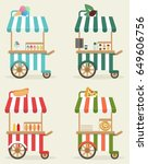 a set of carts with fast food....   Shutterstock .eps vector #649606756