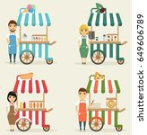 the sellers of fast food ... | Shutterstock .eps vector #649606789