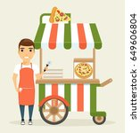 a young man  a seller of pizza  ... | Shutterstock .eps vector #649606804