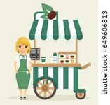 a young girl  the seller of... | Shutterstock .eps vector #649606813