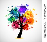 Colorful Tree Background With...