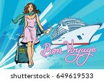 beautiful woman passenger bon... | Shutterstock .eps vector #649619533
