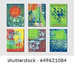set of six postcards with an... | Shutterstock .eps vector #649621084