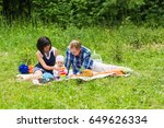 happy family at picnic on the... | Shutterstock . vector #649626334