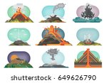 volcano magma nature blowing up ... | Shutterstock .eps vector #649626790