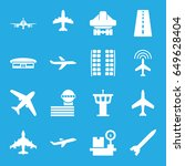 airplane icons set. set of 16... | Shutterstock .eps vector #649628404