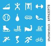 exercise icons set. set of 16