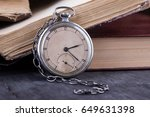 decaying clock on the... | Shutterstock . vector #649631398