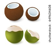 open brown and green coconut.... | Shutterstock .eps vector #649634608