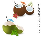 coconut cocktails with umbrella ... | Shutterstock .eps vector #649634620