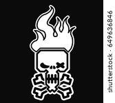 skull. burning skull. vector... | Shutterstock .eps vector #649636846