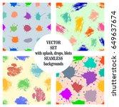 vector set of seamless patterns ...   Shutterstock .eps vector #649637674