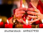 female fortuneteller or... | Shutterstock . vector #649637950