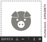 pig icon flat. simple vector... | Shutterstock .eps vector #649638874