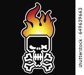 black burning skull. vector... | Shutterstock .eps vector #649639663