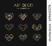 set of art deco geometric... | Shutterstock .eps vector #649642378