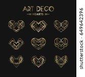 set of art deco geometric... | Shutterstock .eps vector #649642396