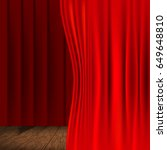 curtain on stage with wooden... | Shutterstock .eps vector #649648810