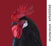rooster low poly design.... | Shutterstock .eps vector #649650568