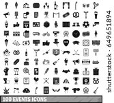 100 events icons set. simple... | Shutterstock .eps vector #649651894