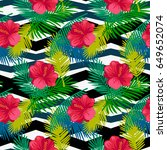 seamless pattern tropical palm... | Shutterstock .eps vector #649652074