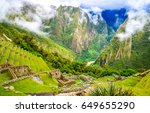 ancient inca city of machu...   Shutterstock . vector #649655290