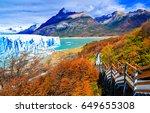 perito moreno glacier panoramic ...   Shutterstock . vector #649655308