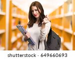student woman making money... | Shutterstock . vector #649660693