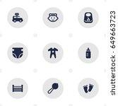 set of 9 kid icons set...   Shutterstock .eps vector #649663723