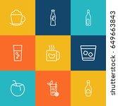 set of 9 beverages outline... | Shutterstock .eps vector #649663843