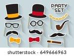 men party set. cardboard... | Shutterstock .eps vector #649666963