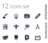 Set Of 12  Icons Set.collectio...