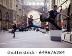 dancers on the street  two... | Shutterstock . vector #649676284