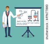 chemistry teacher in white coat ... | Shutterstock .eps vector #649677880
