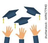 graduates throwing graduation... | Shutterstock .eps vector #649677940